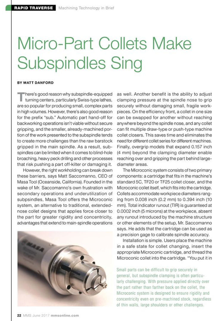 Micro-Part Collets Make Subspindles Sing Page 22